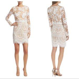 Monique Lhuillier Calypso Lace Cocktail Dress 10
